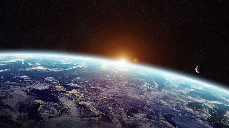Sun rising over the earth, with New Moon