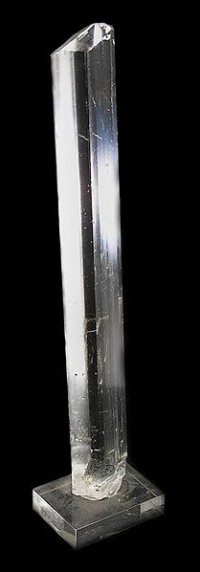 Gypsum crystal rod from Cave of the Crystals (Cava de Naica) in Saucillo, Chihuahua Mexico (Rob Lavinsky March 2010)