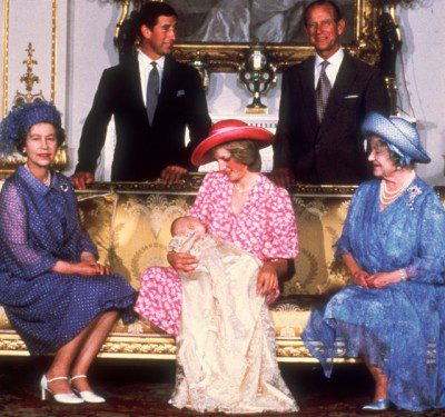 Royal family (parents, grandparents, and great-grandmother) with infant Prince William