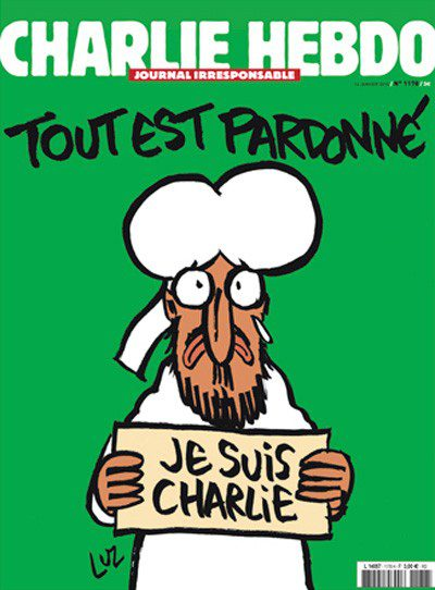 """The first issue after the massacre, of Mohammed bearing an """"I am Charlie"""" sign; the caption reads, """"All is forgiven."""""""