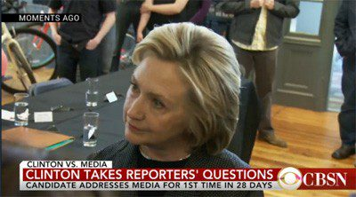 Candidate Clinton briefly takes questions