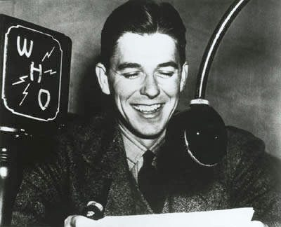 Ronald Reagan, sports announcer at WHO in Des Moines