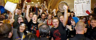 protestors in the state capitol, wisconsin
